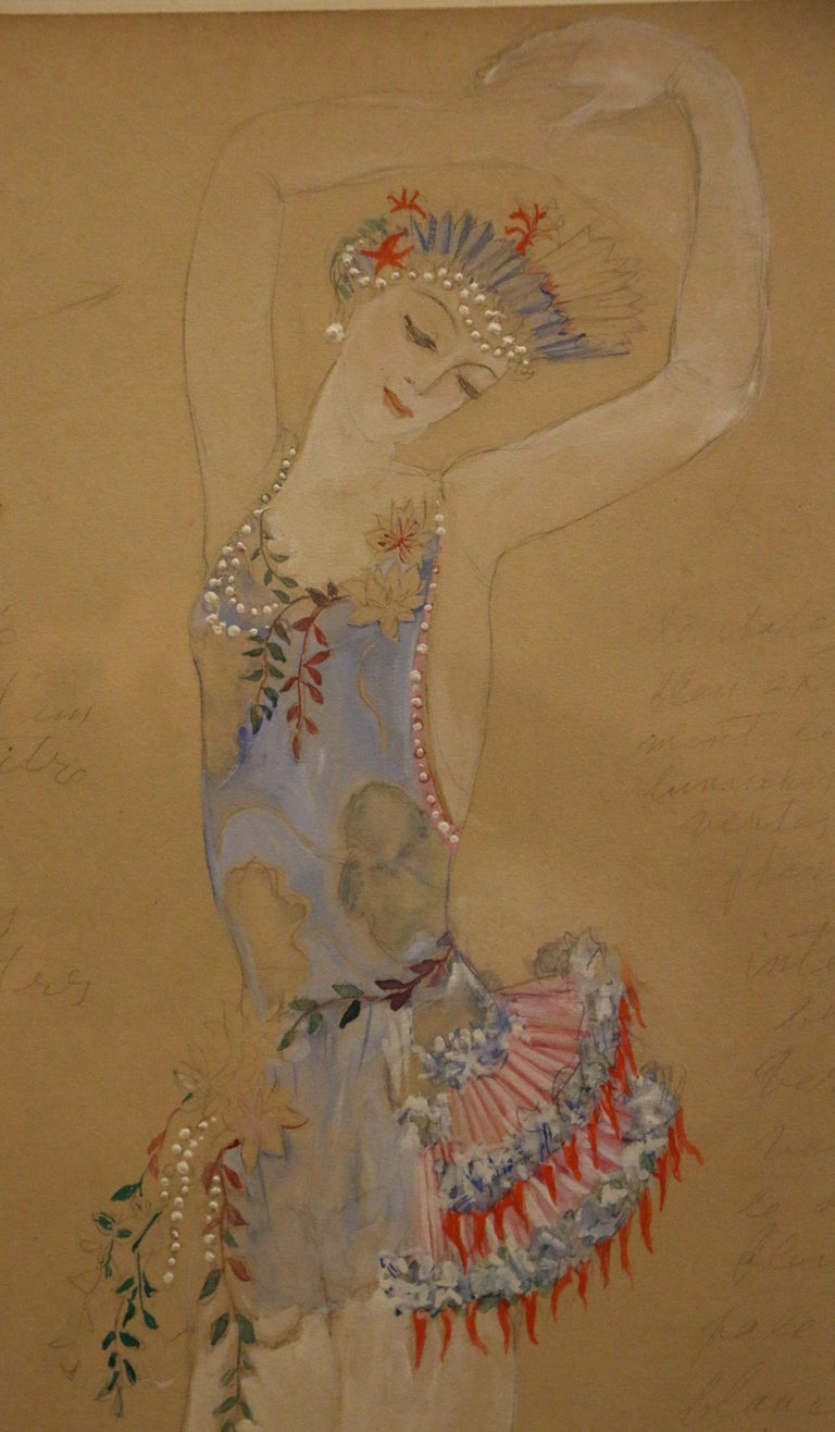 French Costume for a Ballerine Dancer by Natalia Gontcharova, Watercolor and Pencil For Sale