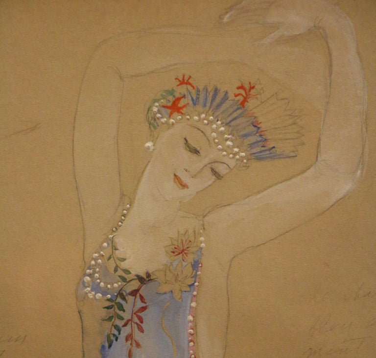 Costume for a Ballerine Dancer by Natalia Gontcharova, Watercolor and Pencil In Good Condition For Sale In Paris, FR