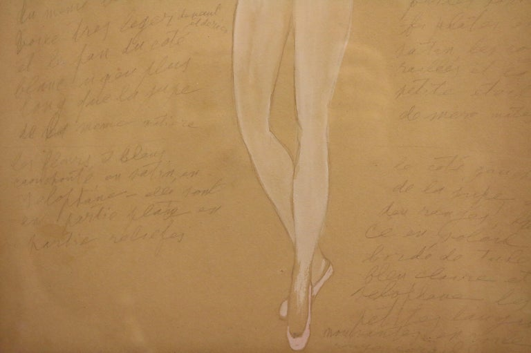 Paper Costume for a Ballerine Dancer by Natalia Gontcharova, Watercolor and Pencil For Sale