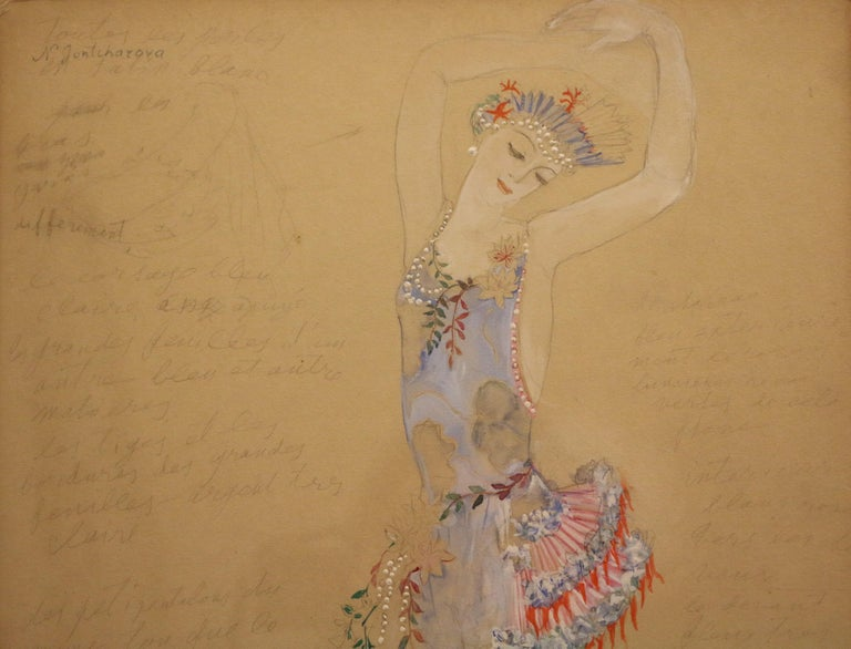 Costume for a Ballerine Dancer by Natalia Gontcharova, Watercolor and Pencil For Sale 1