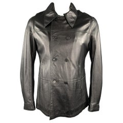 CoSTUME HOMME Size 40 Black Leather Double Breasted Jacket