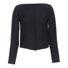 COSTUME NATIONAL 100% silk black wide boat neck zip front top IT38 XS