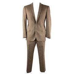 CoSTUME NATIONAL 42 Regular Brown Tweed Wool Blend Notch Lapel Suit