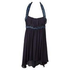 COSTUME NATIONAL Blue Beaded Straps EMBELLISHED SILK DRESS Size 40