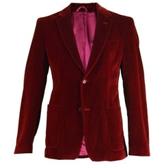 Costume National Homme Men's Red Velvet Evening Dinner Blazer Jacket