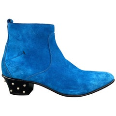 CoSTUME NATIONAL Size 10 Royal Blue Studded Side Zipper Boots