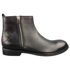 CoSTUME NATIONAL Size 11 Black Leather Side Zippers Boots