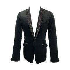 CoSTUME NATIONAL Size 38 Black Velvet Beaded Peak Lapel Sport Coat