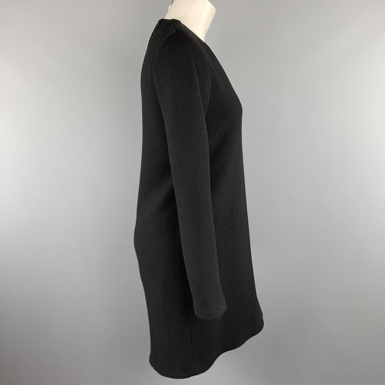 CoSTUME NATIONAL Size 4 Black Wool Long Sleeve Wrap Dress In Excellent Condition For Sale In San Francisco, CA