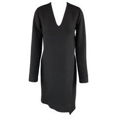 CoSTUME NATIONAL Size 4 Black Wool Long Sleeve Wrap Dress