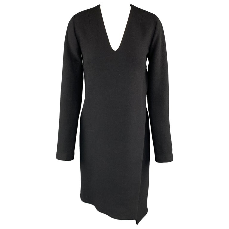 CoSTUME NATIONAL Size 4 Black Wool Long Sleeve Wrap Dress For Sale