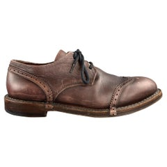 CoSTUME NATIONAL Size 9.5 Brown Antique Leather Lace Up Shoes