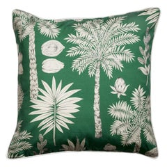 Côte d'Azur Emeraude Green and White Flowers Printed Cotton Pillow/Cushion