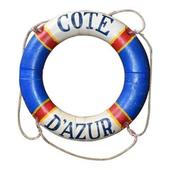 Côte d'Azur French Riviera Nautical Life Preserver in Red White and Blue, France