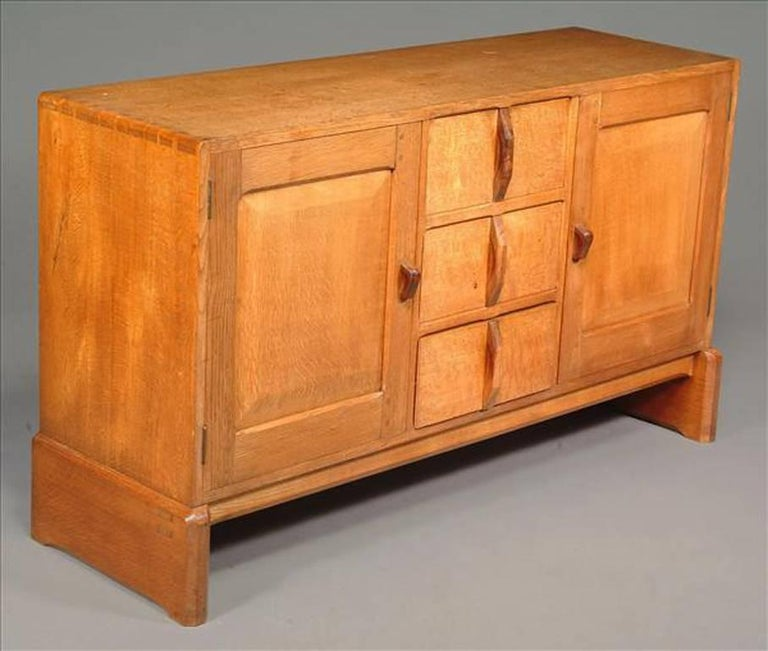 Arts and Crafts Cotswold School Arts & Crafts Hand Crafted Oak Dining Table & Matching Sideboard For Sale