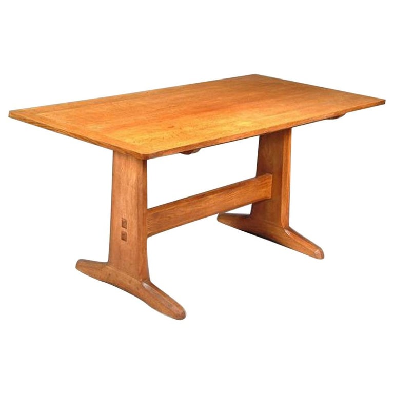Cotswold School Arts & Crafts Hand Crafted Oak Dining Table & Matching Sideboard For Sale