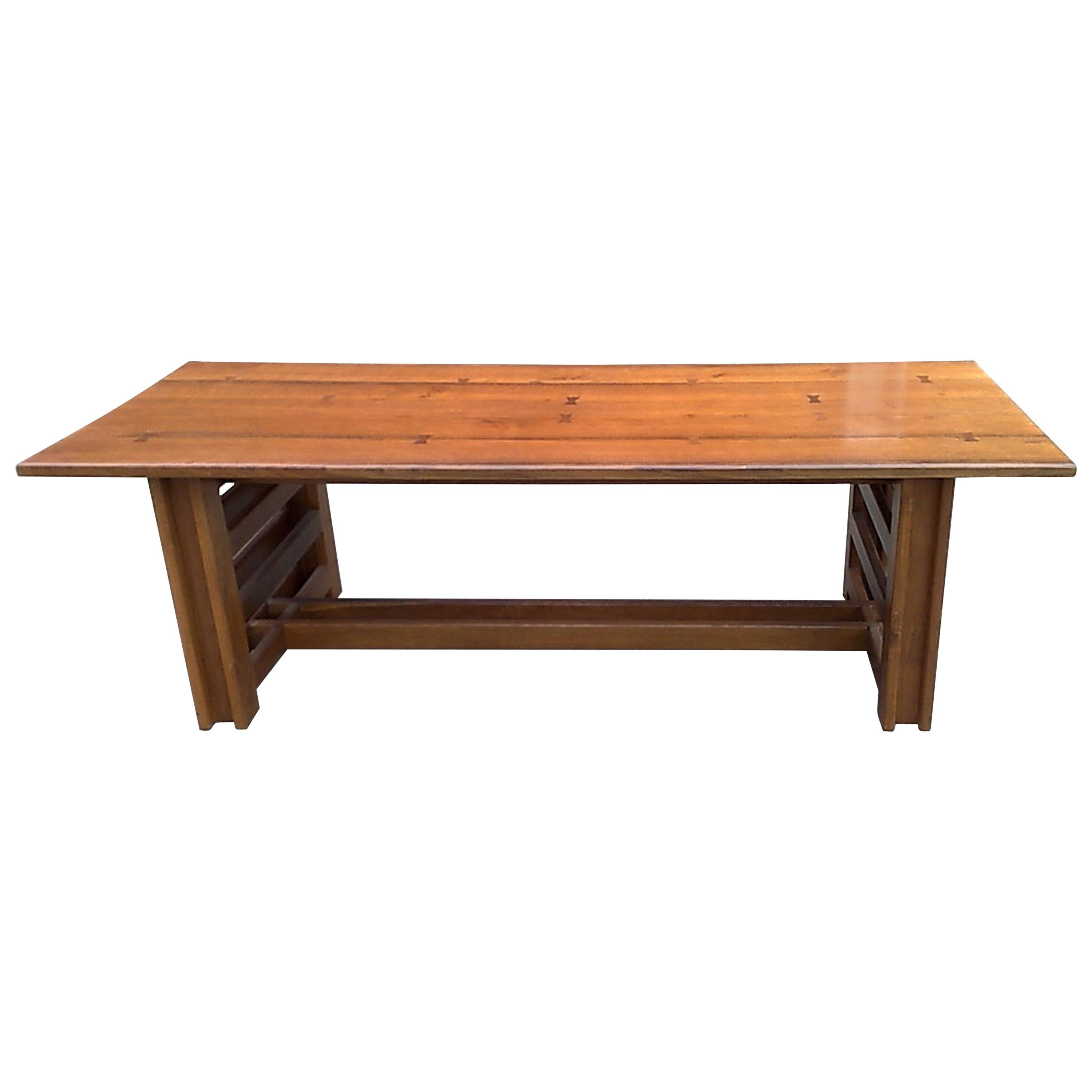 Cotswold School Oak Arts & Crafts Dining Table with Butterfly Joints to the Top