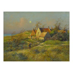 """Cottage by the Sea"" Oil Painting by Georges Maroniez"