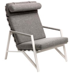 Cottage Gray Lounge Armchair with White Frame by Talenti