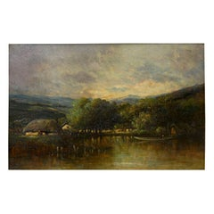 """Cottage on a Lake"" Barbizon Oil Painting by Victor Dupré, circa 1850"