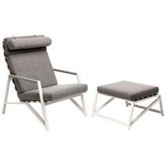 Cottage Set of Gray Armchair and Pouf with White Frame by Talenti