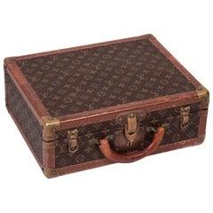 Cotteville 40 Case Louis Vuitton Leather Brass Canvas, 1970s