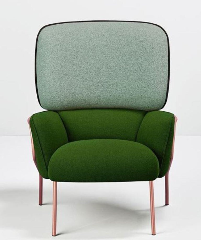 Cotton Armchair by Eli Gutiérrez A cozy and embracing armchair, an incredible piece that converges in a perfect balance of volumes due to its unique structure and its rounded padded cushions. Cotton is an exclusive design that makes us to easily