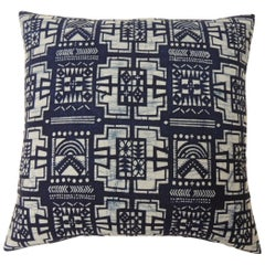 "Single Cotton Blue and White ""Kumasi"" Decorative Pillow"