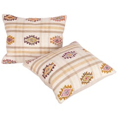 Cotton Cicim Pillow Cases Made from an Anatolian Cicim Kilim, Mid-20th Century