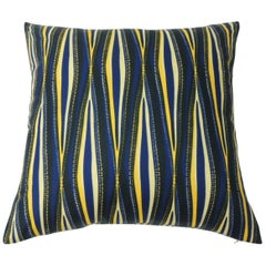 "Cotton Waxed Blue and Yellow ""Onde"" Decorative Pillow Double-Sided"