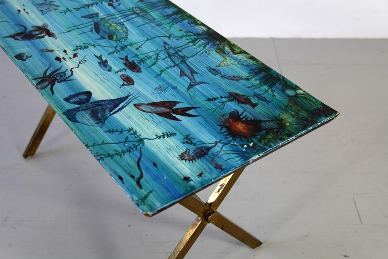 Mid-Century Modern Italian Couch Table with Marine Motives, Manufactured by Fornasetti, 1950s For Sale