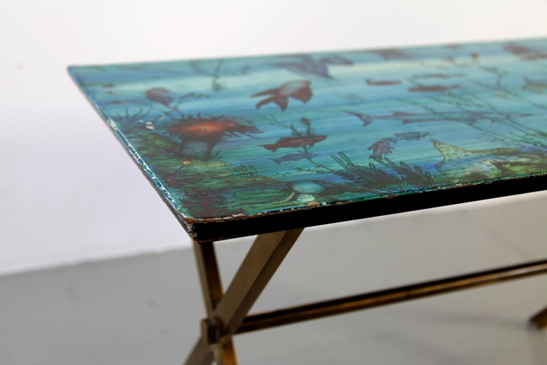 Lacquered Italian Couch Table with Marine Motives, Manufactured by Fornasetti, 1950s For Sale