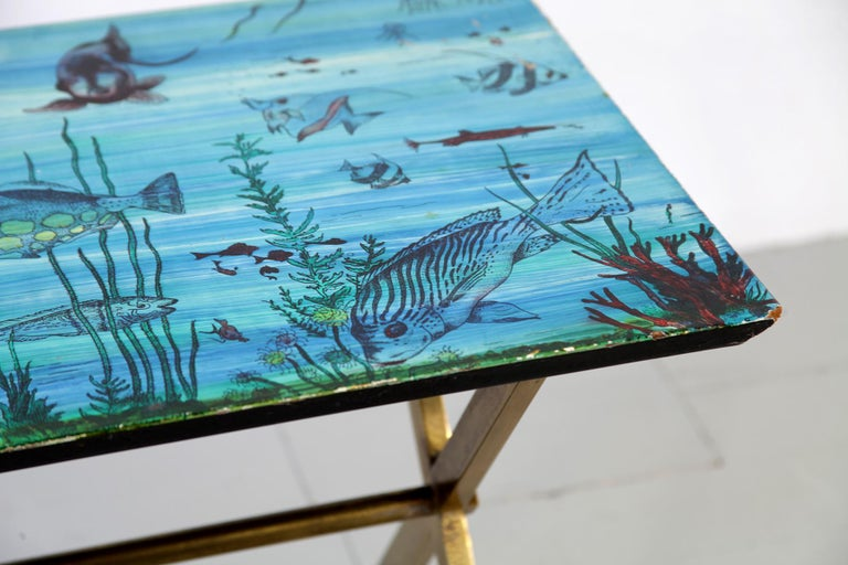 Italian Couch Table with Marine Motives, Manufactured by Fornasetti, 1950s For Sale 1