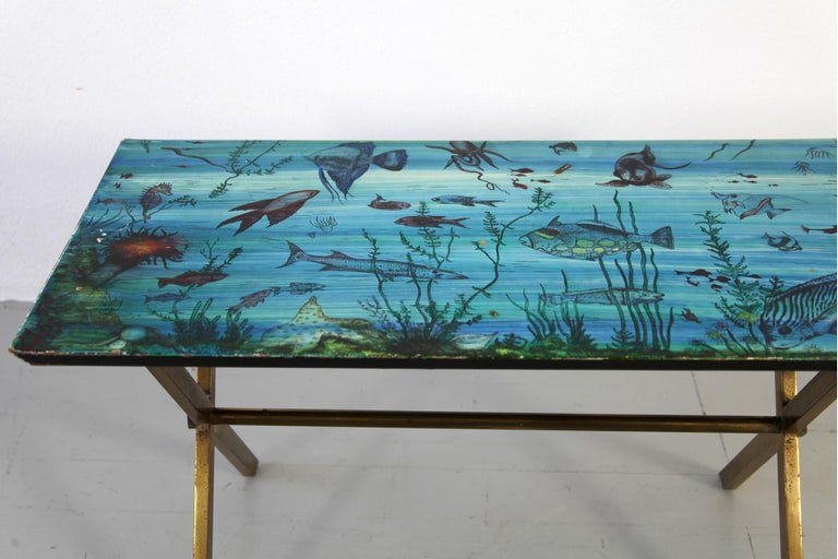 Italian Couch Table with Marine Motives, Manufactured by Fornasetti, 1950s For Sale 2