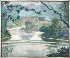 """""""Fog and Brook"""" Mid Century Impressionistic Oil Painting by Central Park"""