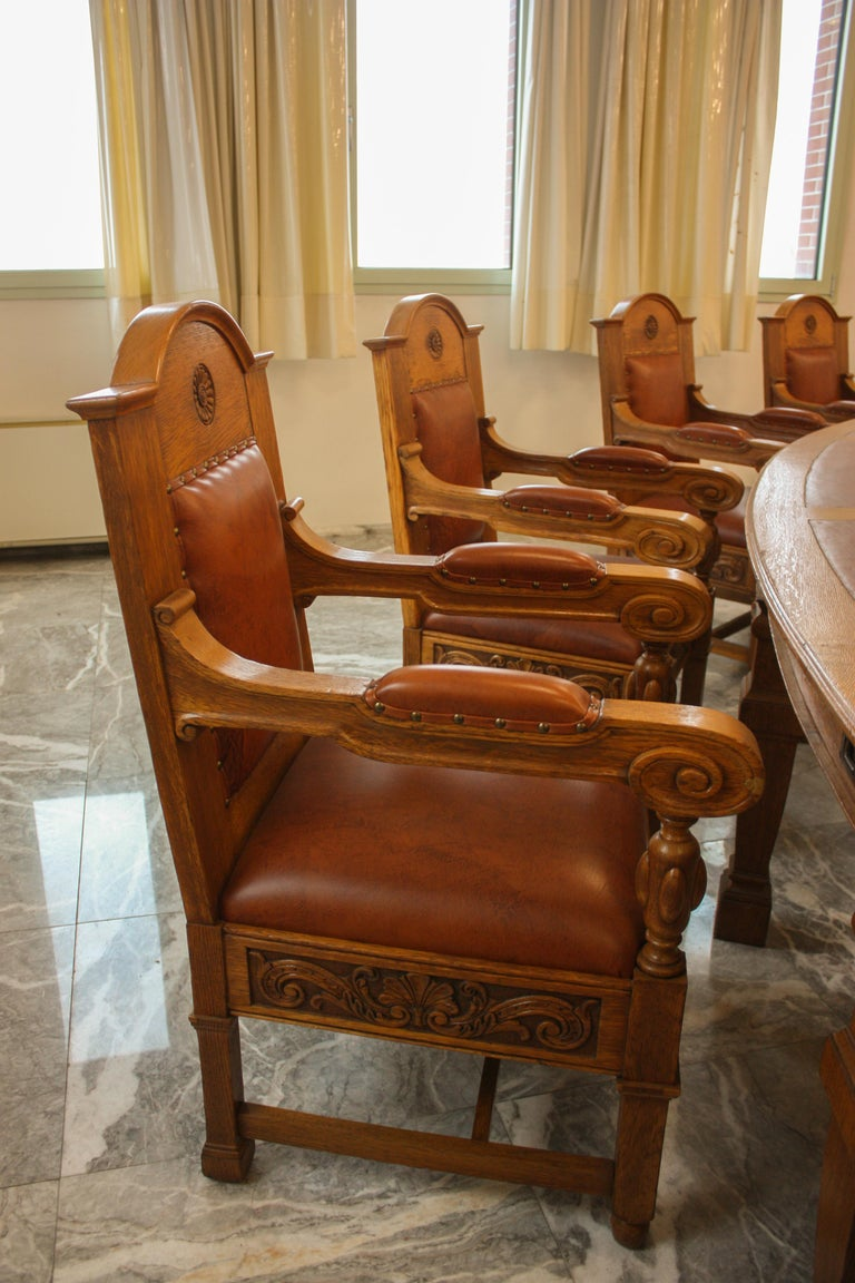 Council Chamber Desks Chairs and Armchairs, Italy, 1920 For Sale 5