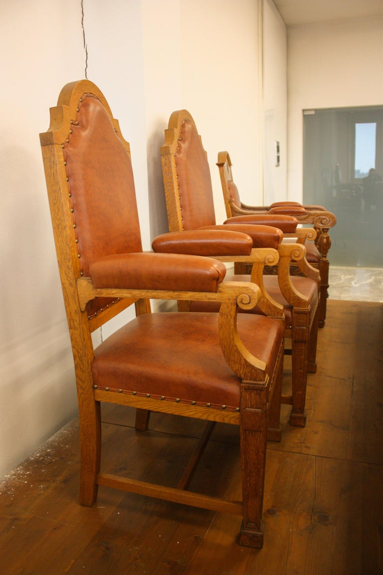 Council Chamber Desks Chairs and Armchairs, Italy, 1920 For Sale 10