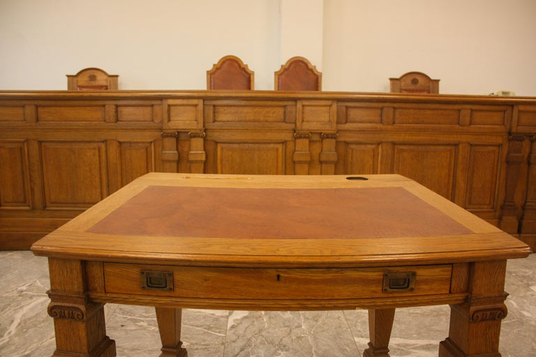 Council Chamber Desks Chairs and Armchairs, Italy, 1920 In Excellent Condition For Sale In Budapest, HU