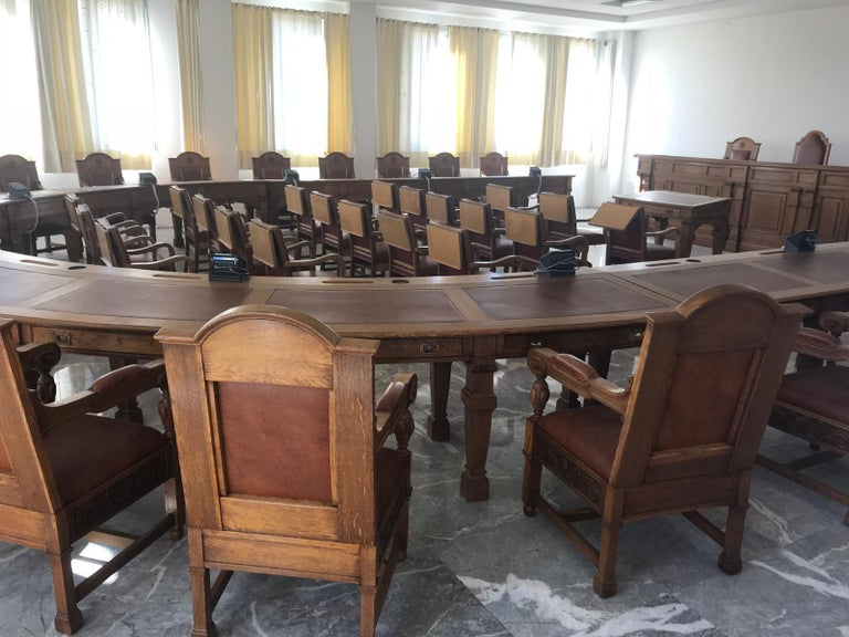 Council Chamber Desks Chairs and Armchairs, Italy, 1920 For Sale 1