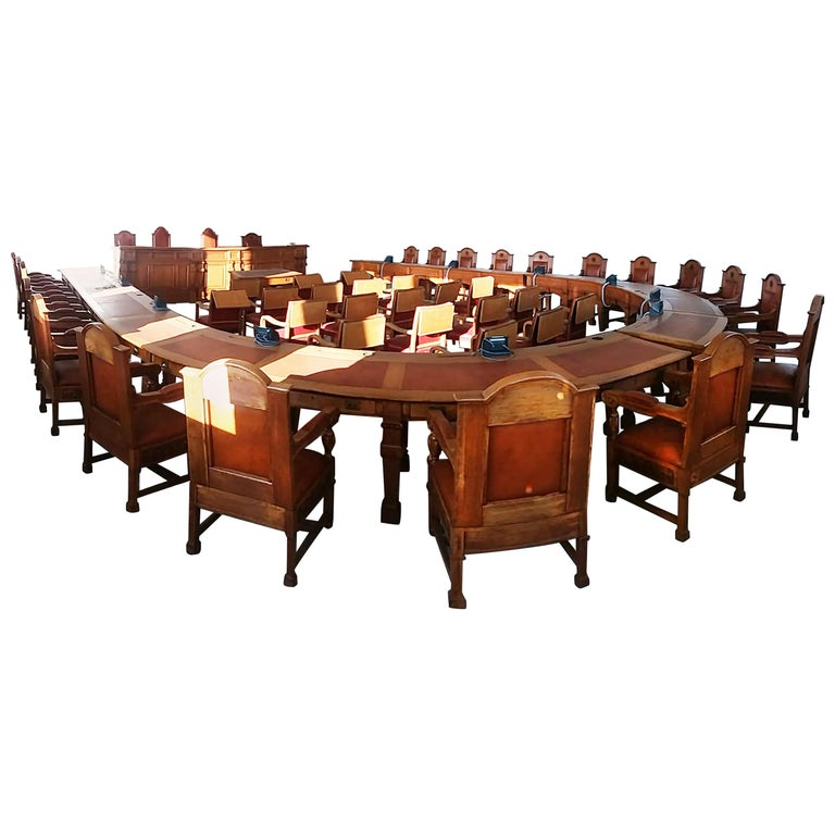 Council Chamber Desks Chairs and Armchairs, Italy, 1920 For Sale