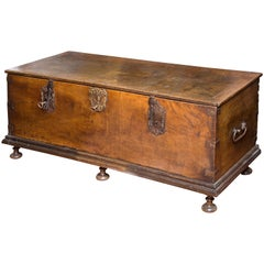 Council or City Hall Chest Walnut, Wrought Iron, Spain, 17th Century with Restor