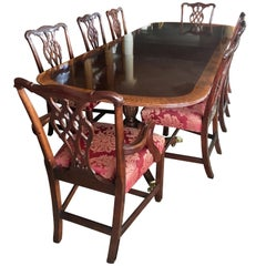 Councill Craftsman Mahogany Inlay Dining Room Set Table and Twelve Chairs