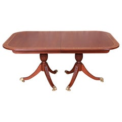 Councill Georgian Banded Mahogany Double Pedestal Dining Table, Newly Restored