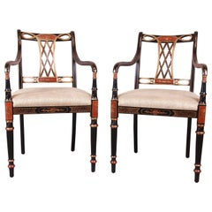 Councill Regency Ebonized Hand Painted Armchairs, Pair