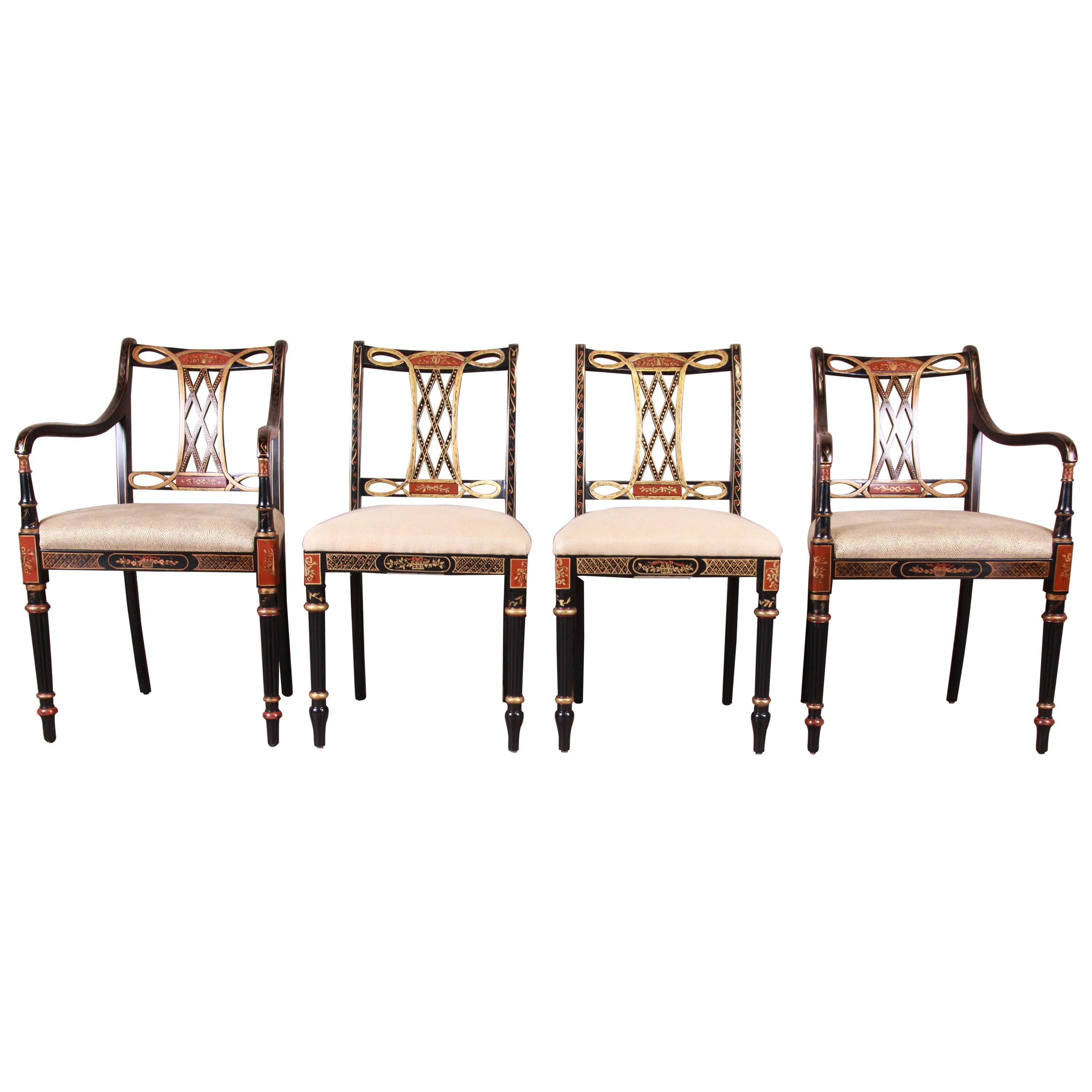 Councill Regency Ebonized Hand Painted Dining Chairs, Set of Four