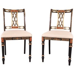 Councill Regency Ebonized Hand Painted Side Chairs, Pair