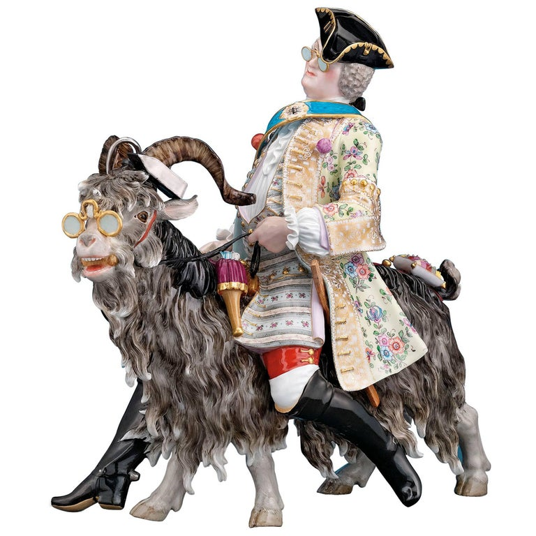 Count Bruhl's Tailor on a Goat Porcelain Figure by Meissen