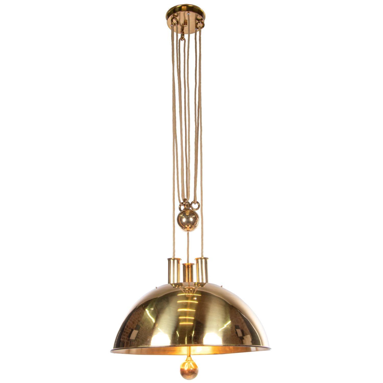Counter Balance Brass Pendant Light by Florian Schulz, Germany, 1950