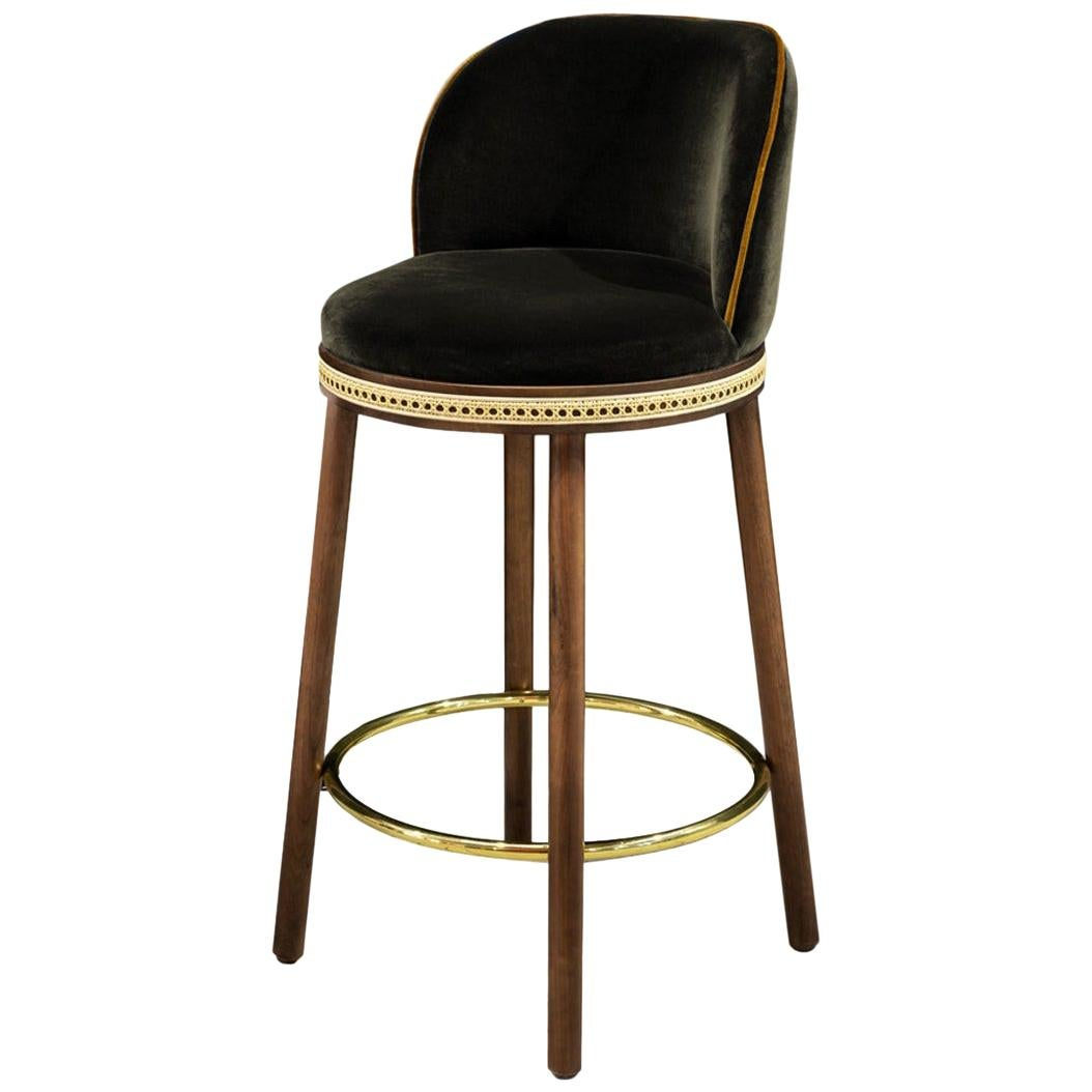 Mid-Century Modern Counter Chair Alma with Soft Cotton Velvet, Walnut and Brass