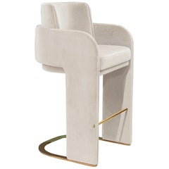 Mid-Century Modern Counter Chair Odisseia with Polished Brass and COM fabric